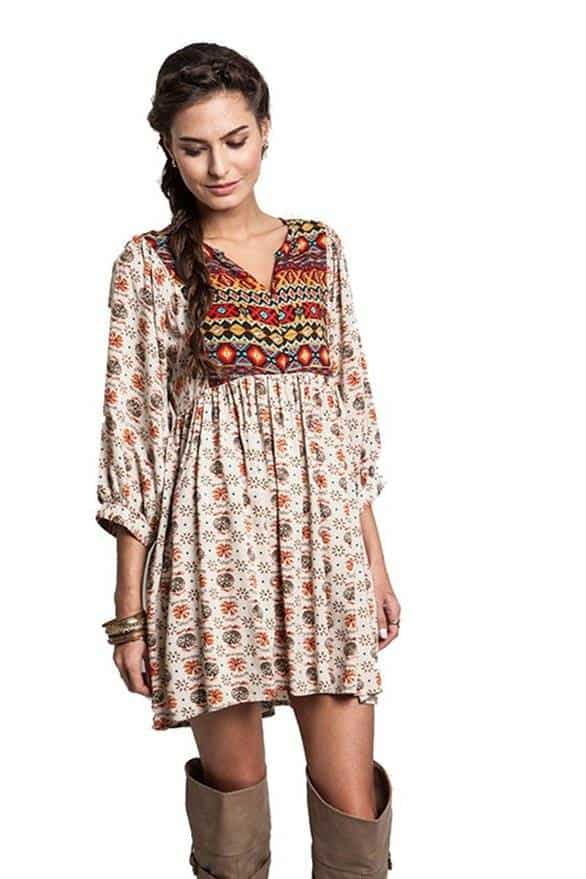 Boho dress with neutral boots
